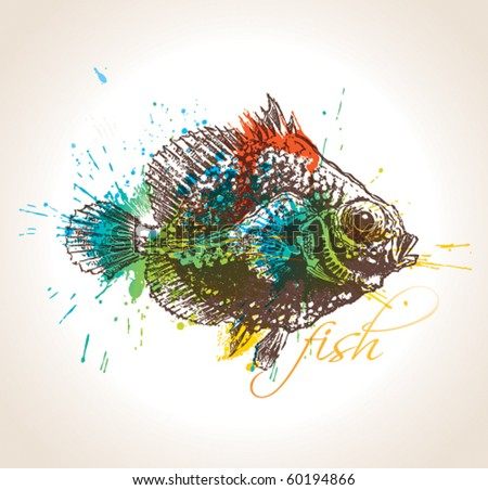 The vintage fish with colorful drops and sprays on a beige background. Vector illustration. - stock vector