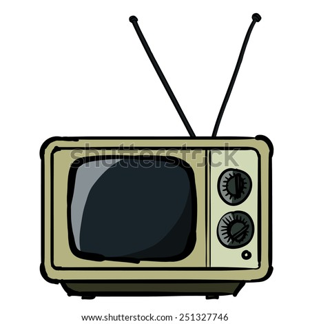 The vintage TV. A children's sketch of the square TV. Color image. - stock vector