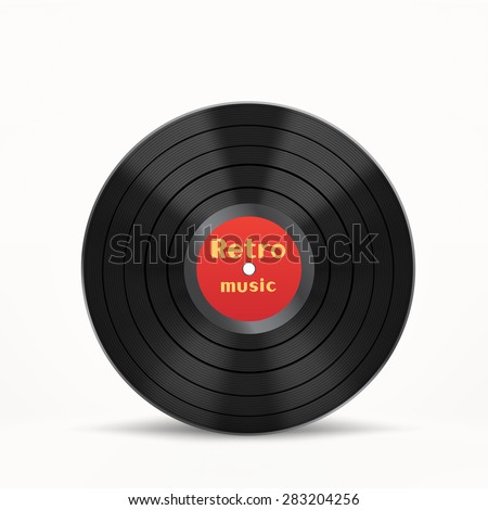 The vinyl disc on the white background - stock vector