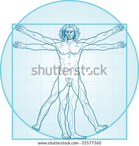 The Vitruvian man, or so called Leonardo da Vinci man. Detailed drawing. Blue version. - stock vector