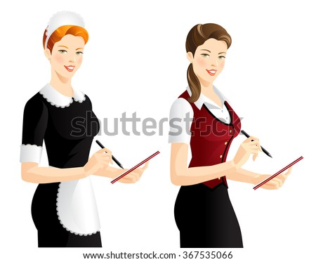 The waitress takes an order. Pretty woman in french style uniform.  - stock vector