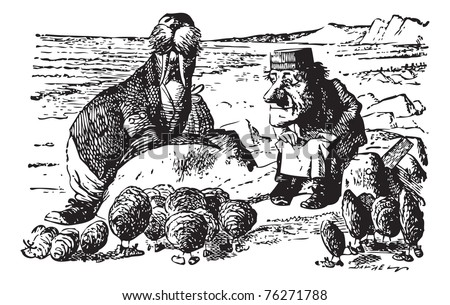 The Walrus, The Carpenter and the Little Oysters - original book engraving. Walked on a mile or so, And then they rested on a rock Conveniently low: And all the little Oysters stood - stock vector