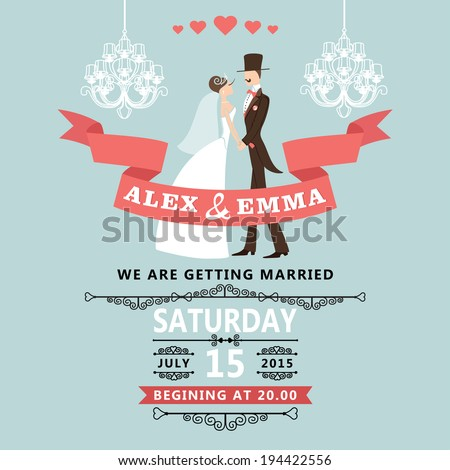 The wedding invitation with cartoon couple groom and bride in retro style with vignettes,ribbon,chandeliers.A design template.The vector. - stock vector