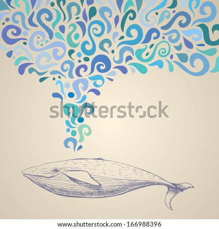 The whale with colorful abstract fountain. Hand drawn vector illustration. Can be used separately from backdrop or postcard. - stock vector