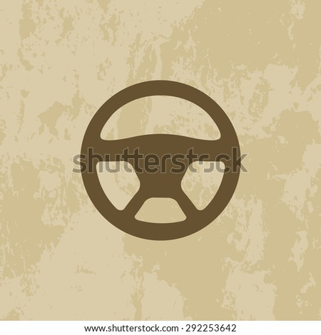 the wheel of a car icon on grunge background - vector illustration. EPS 10 - stock vector