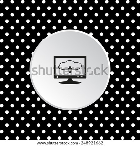 The white circles on a black background. cloud storage on the computer, vector illustration, EPS 10 - stock vector