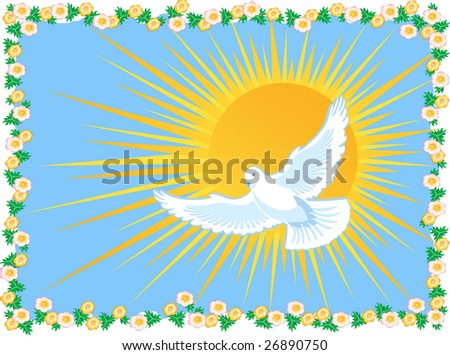 The white dove vector illustration. EPS8, all parts closed, possibility to edit. - stock vector