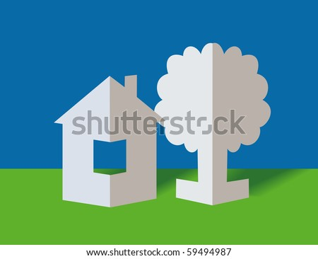 The white paper house and paper tree - stock vector