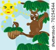 The wild squirrel in solar weather tries to get a wood nut - stock vector