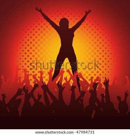 The Winner: female silhouette with crowd - stock vector
