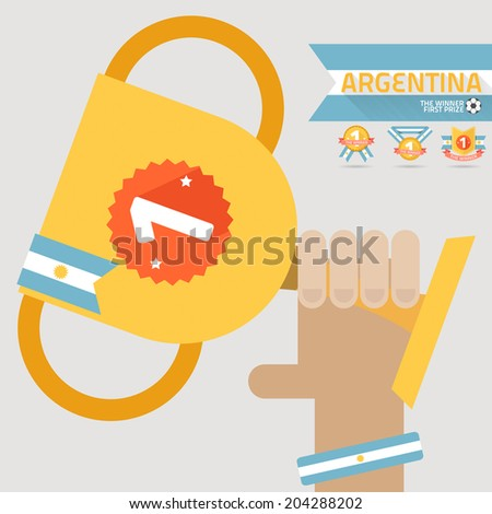the winner first prize on the hand with argentina flag vector - stock vector