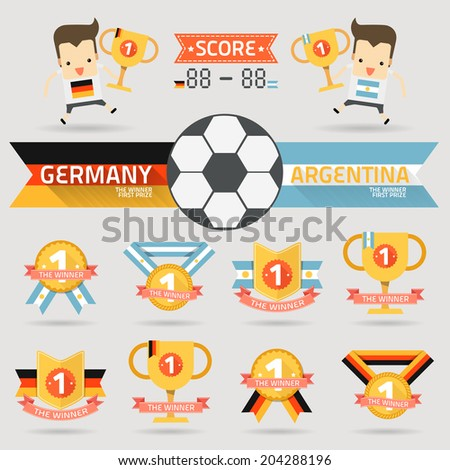 the winner first prize with germany and argentina football team vector - stock vector