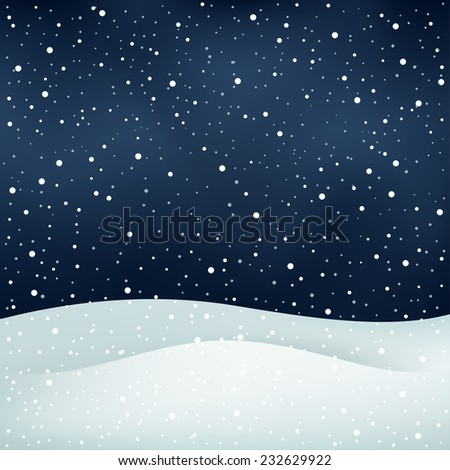 The winter snowfall, night sky and snowdrift Christmas background - stock vector