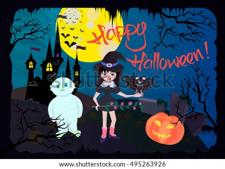 The witch, bat, mummy and grinning pumpkins on a background of the dark castle and full moon
