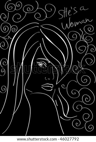 The woman darting a glance, drawn on a black background