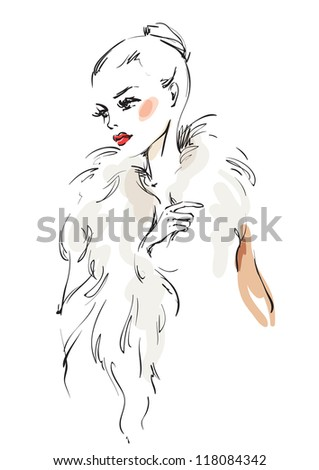 The woman in a fur coat - stock vector