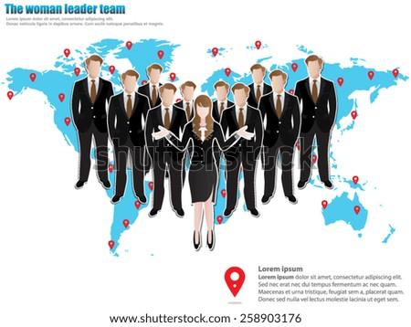 The Woman Leader Team - stock vector