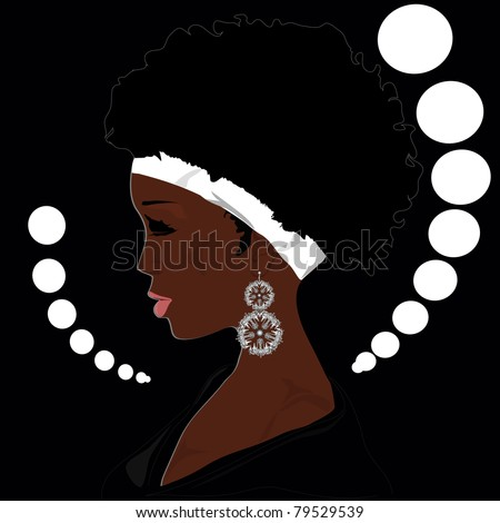 The woman of the African descent with the big ear rings - stock vector