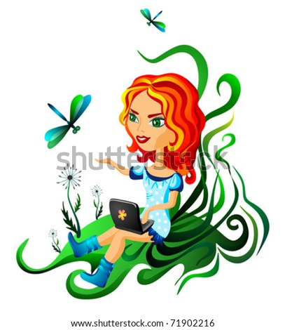 The woman works at the laptop on the nature - stock vector