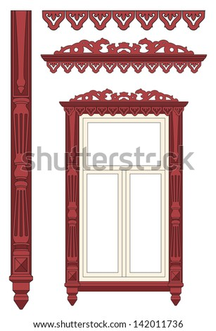 The wooden decorated window. Vector illustration. - stock vector