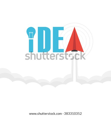 the word 'idea' on sky with paper plane and light bulb, thinking concept - stock vector