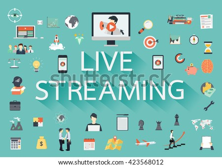 The word LIVE STREAMING with long shadow surrounded by concerning flat icons - stock vector