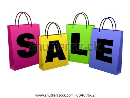 """The word """"SALE"""" is located on the paper bags - stock vector"""