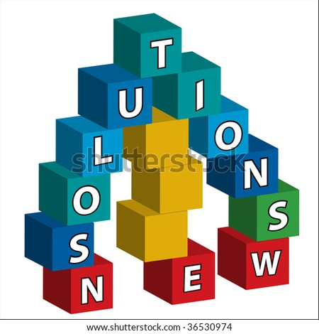 """The words """"NEW SOLUTIONS"""" assembled in bricks - stock vector"""