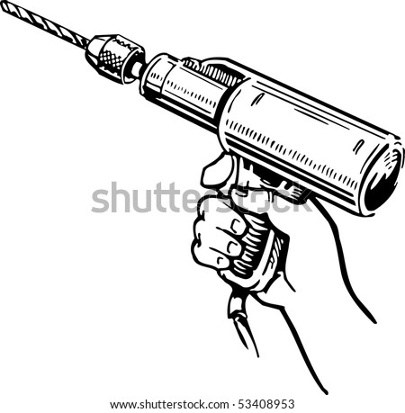 Hand Drill Drawing Hand Drill Stock Vector
