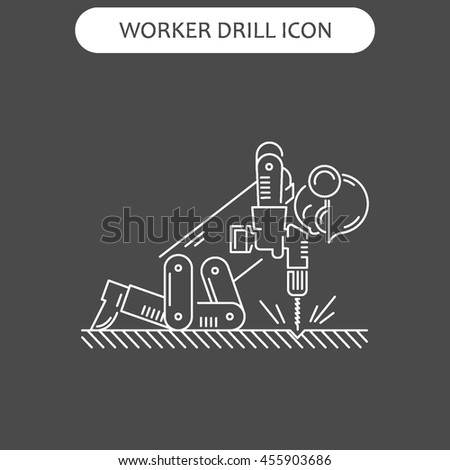 The worker on building drills a wall a drill and the screw gun in different poses. Set of icons executed in white lines on a black background. The web and other carriers is suitable for an infographic