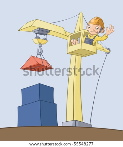 The worker on the crane lifts cargo - stock vector