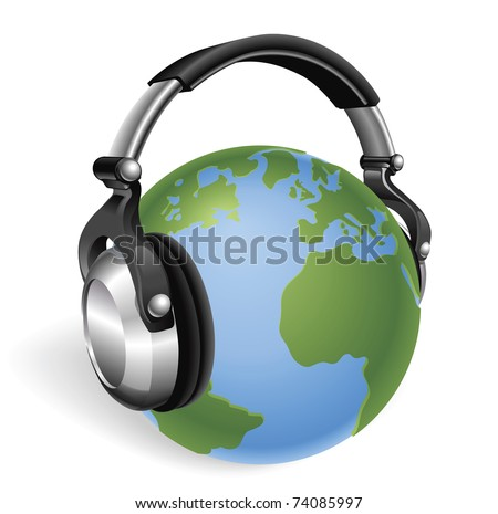 The world earth globe listening to music on funky headphones. - stock vector