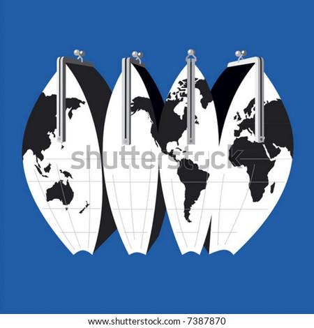 The world - money bag. Simple vector. - stock vector