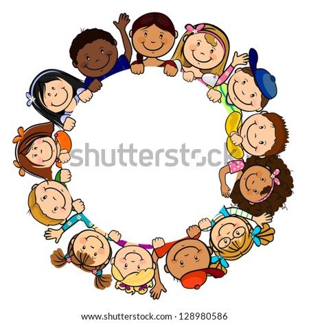 The world's children in a circle white background-single level-without the effects of transparency-EPS 8 - stock vector