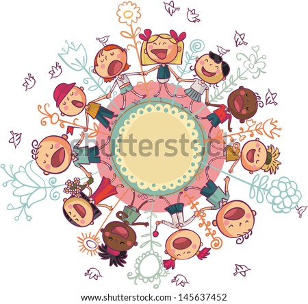 The world's children is dancing and singing in circle - stock vector