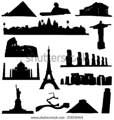 The world's greatest architectural wonders - stock vector