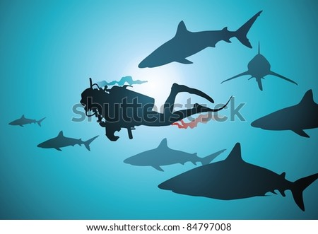 The wounded diver floats among malicious and hungry sharks - stock ...