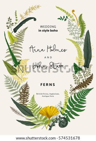 Wreath ferns leaves wedding invitation style stock vector hd wreath ferns leaves wedding invitation style stock vector hd royalty free 574531678 shutterstock stopboris Images