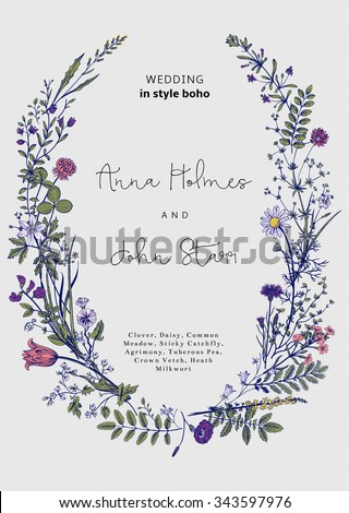The wreath of wild flowers. Wedding invitation in the style of boho. Vector vintage illustration. - stock vector