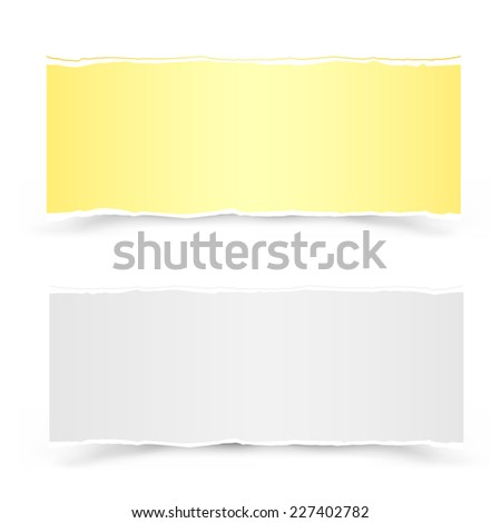 The yellow and white torn pieces of paper on the white background - stock vector