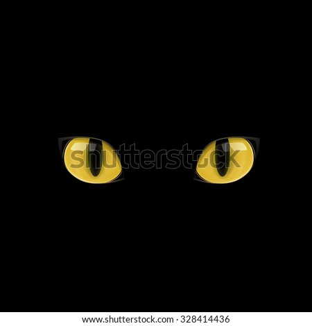 The yellow cat eyes on the black background - stock vector