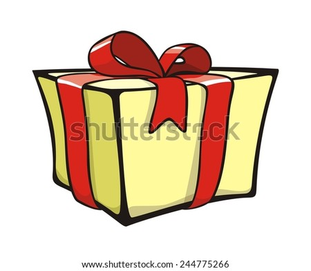 The yellow present box with red bow (vector) - stock vector