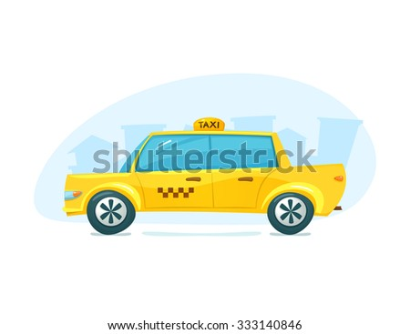 The yellow taxi with cityscape backdrop, urban transport, vector illustration - stock vector