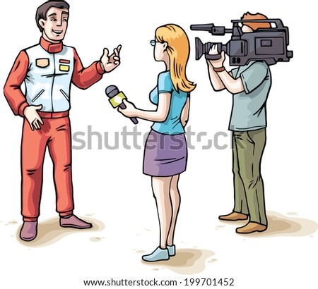 The young female journalist and the camera operator are filming an interview with the glad racer wearing in a red sports team uniform.