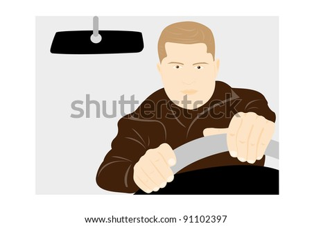 The young man drives the car on a gray background - stock vector