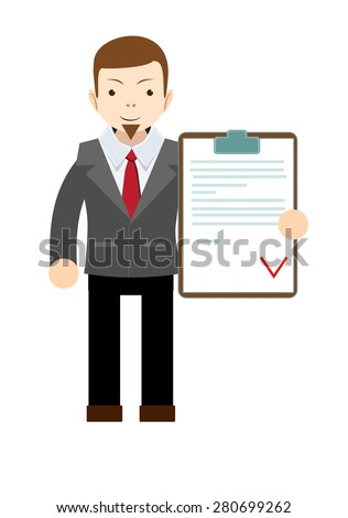 The young man - Manager with the approved document. Isolated on white background. Stock vector illustration - stock vector