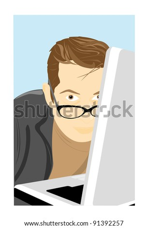 The young man works at the computer and looks out from for it - stock vector