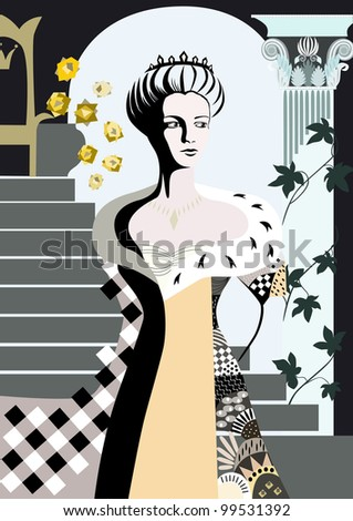 The young queen is in thinking on the background of the interior to the throne, staircase, with a vase of roses, arch and ancient column. - stock vector