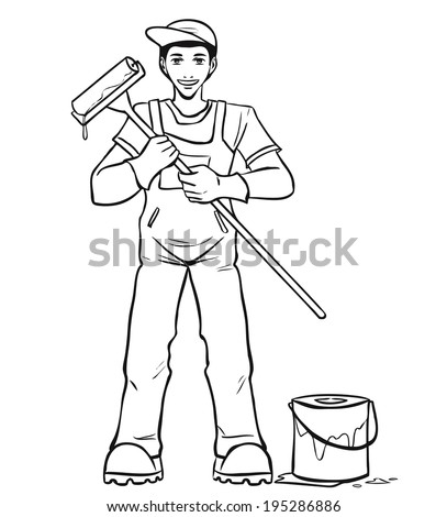 The young smiling worker in blue overalls holds the paint roller in hand. Vector cartoon. - stock vector
