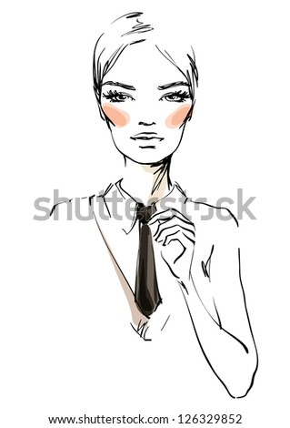 The young woman in a business suit - stock vector